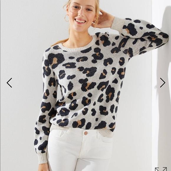 09bf04bb289 Loft leopard jacquard sweater